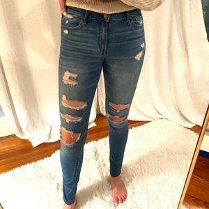 Abercrombie distressed Harper super skinny jeans